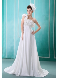 One Shoulder Embroidery Decorate Bust Chiffon Watteau Train 2013 Wedding Dress