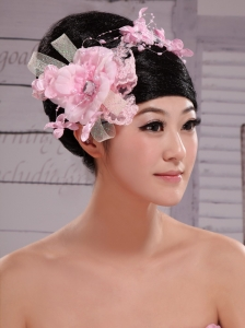 Pink Chiffon Bud Silk Pearls Net Flowers For Wedding