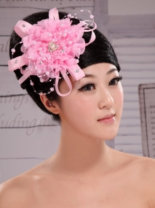 Pink Chiffon Ribbon Big Flowers With Pearls For Wedding