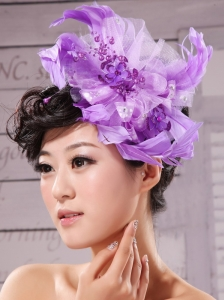 Purple Feathers Big Hat Wedding Headpieces
