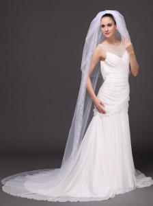 Three-tier and Pearl Trim Edge Bridal Veils For Wedding