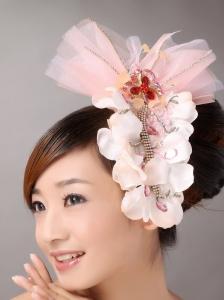 Baby Pink Tulle and Organza Beaded and Flowers Decorate Baby Pink Headpieces