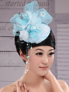 Tulle Aqua Blue Fully Handmade Headpieces With Rhinestones and Flowers Decorate For Party