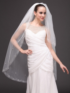 Two-tier Fingertip Wedding Bridal Veil For Wedding