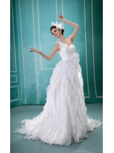 Wholesale A-line Ruffles One Shoulder Wedding Dress With Appliques Organza