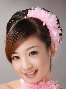 Baby Pink Imitation Multilayer Imitation Pearls Fascinators For Party