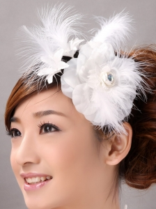 Beautiful Feather Flower Hairpin Wedding and Outdoor Organza Fascinators