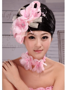 Beautiful Pink Taffeta and Tulle Pearl Headpiece For Party