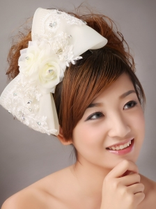 Big Bowknot With Lace and Hand Made Flowers For Brides