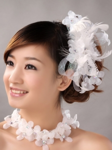 White Hand Made Flowers Feather Wedding Fascinators