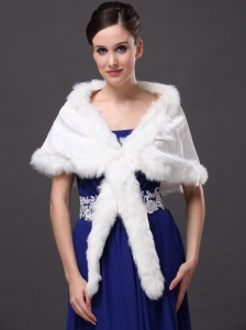 Faux Fur Elegant V-Neck White Wrap/Jacket For Winter