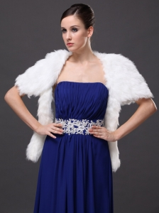 White Faux Fur Wedding Affordable Short Sleeves Prom And Wedding Party Jacket