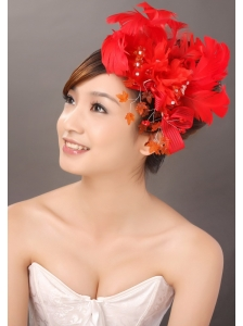Elegant Red Feather Flowers Beading Women' s Fascinators