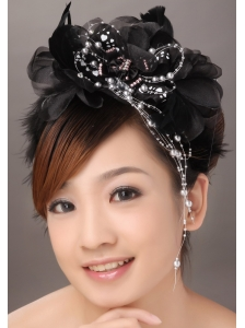 Modest Black Organza Beading Women' s Fascinators