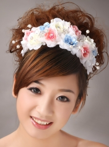 Muti-color Headpiece With Hand Made Flowers and Pearl