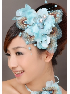 Popular Light Blue Taffeta Tulle Feather Beading Women' s Fascinators