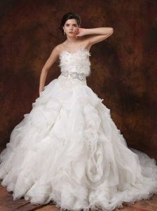 Beaded Decorate Bodice Ruffled Layers Feather Ball Gown Wedding Dress For 2013 Sweetheart Chapel Train