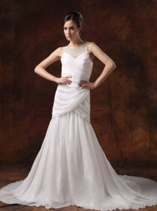Beaded Decorate Scoop Neckline A-line Chiffon Ruch Court Train 2013 Wedding Dress