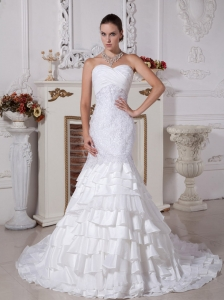 Perfect Mermaid Sweetheart Wedding Dress With Lace and Ruffled Layers Decorate