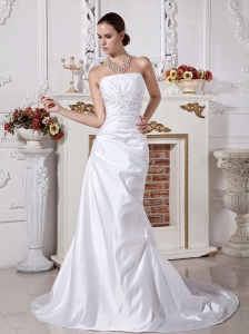 Pretty Strapless Neckline Column Wedding Dress With Beaded Bodice