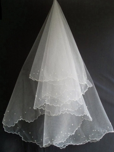 Beading Decorate Tulle Popular Wedding Veils
