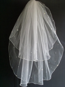 Beading Tulle Two Layers Wedding Veils
