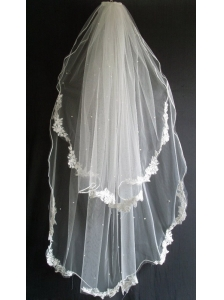 Lace Appliques and Beading Decorate Tulle Wedding Veils