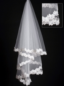 Lace Applique Edge Classical Organza Bridal Veils