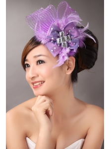 Lavender Bridal Fascinators White Pearl Crystal Satin Ribbon Flower