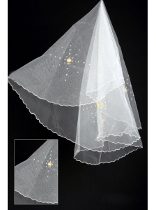 Organza Imitation Pearls Bridal Veils