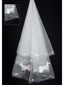 Organza Lace Applique Edge Bridal / Wedding Veils