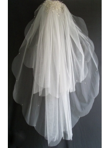 Pearl Decorate Beautiful Tulle Wedding Veils