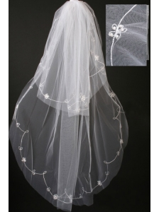 Pearl Trim Edge Gorgeous Tulle Bridal Veils