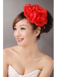 Red Imitation Pearls Headpieces For Party