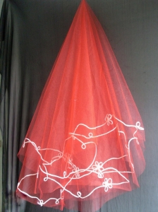 Red Tulle Wedding Veils