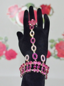 Shining Fuchsia Bracelet And Ring