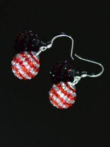 Sweet Round Rhinestone Red and White Earrings