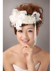 White Feather Wedding and Special Occasion Lace Fascinators
