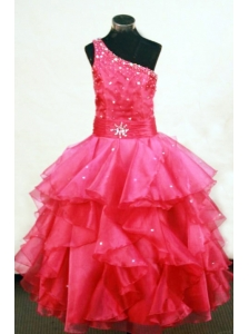 Beading Lovely One Shoulder Floor-Length One Shoulder Coral Red Ball Gown Little Girl Pageant Dresses