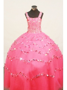 Custom Made Little Girl Pageant Dress BeadingStrap Floor-Length Organza