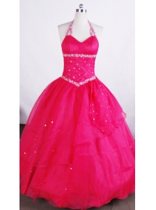 Simple Ball Gown Halter Neckline Floor-length Flower Girl Pageant Dress With Beaded Decorate