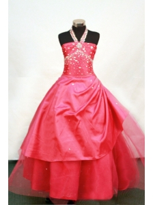 Sweet Halter Beaded Decorate Tulle Red Flower Girl Pageant Dress