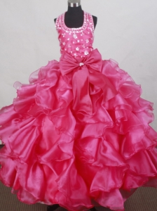 2013 Elegant Halter Neckline Flower Girl Pageant Dress  With Beade and Ruffled Layers Decorate