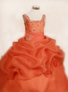 Appliques Cut Ball Gown Straps Floor-length Organza Orange Little Girl Pageant Dresses