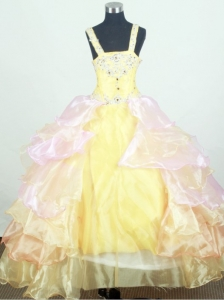 Appliques Little Girl Pageant Dresses  With Ruffled Layers and Organza