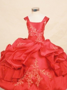 Appliques With Beading Lovely Ball gown Taffeta Square Floor-length Red Little Girl Pageant Dresses