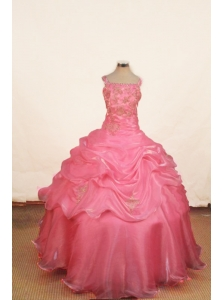 Appliques With Beading Luxurious Off the Shoulder Ball Gown Organza Floor-length Pink Little Girl Pageant Dresses