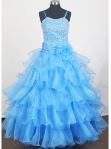 Aqua Blue and Hand Made Flowers For Little Girl Pageant Dress With Beaded Decorate Bodice