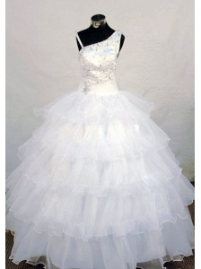 Asymmetrical Neckline Wonderful Beading Little Girl Pageant Dresses White Organza
