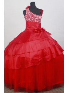 Asymmetrical Red Beaded and Flowers Decorate Flower Girl Dress